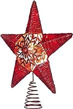 WeRChristmas Pre-lit Snowflake Sprinky Christmas Tree Top Star LED Lights, Red, 31cm