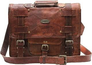 Handmade World 16 Inch Vintage Men Brown Leather Briefcase Laptop Messenger Bag