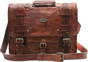 Handmade World 18 Inch Vintage Men Brown Leather Briefcase Laptop Messenger Bag
