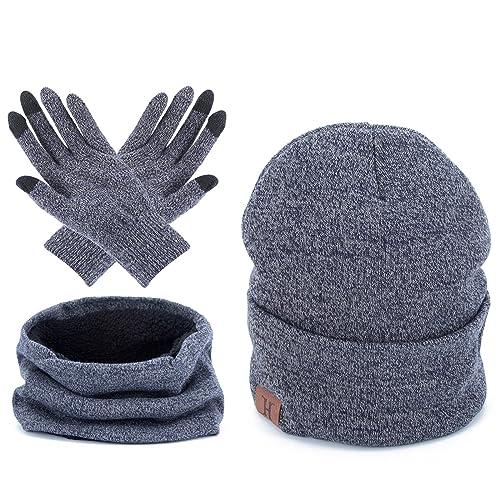 30a2ce1d1ef Men Winter Warm Beanie Hat - Women Scarf Touch Screen Gloves 3 Pieces Set