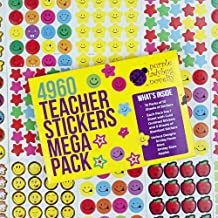 Teacher Stickers for Kids Mega Pack by Purple Ladybug Novelty, 4960 Re-Ward Stickers & Incentive Stickers for Teachers Classroom & School Bulk Use! Includes Smiley Face Stickers & Star Stickers!