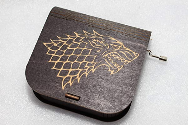 Game Of Thrones Music Box House Stark Engraved Wooden Box Game Of Thrones Theme Wolf Stark Lannister Dragon Hand Crank Movement