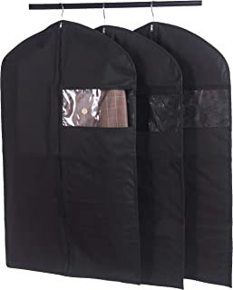 """Amelitory Garment Covers Lightweight Garment Bags Dust-Proof Suit Bags for Clothing Storage and Travel Black with Clear Window Set of 3, Fabric, Black, 23.6""""x 39.4"""""""