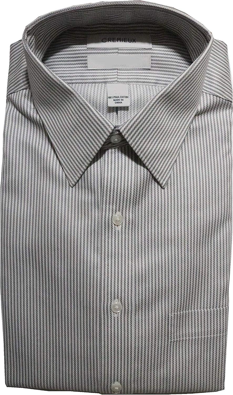 Cremieux Non Iron Classic Fit Stripe Point Collar Dress Shirt C16A0004 Charcoal
