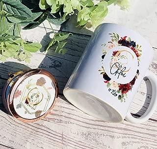 HAPPINESS MUG, Bridesmaid gift, initial mug, birthday present, personalised mug, compact mirror