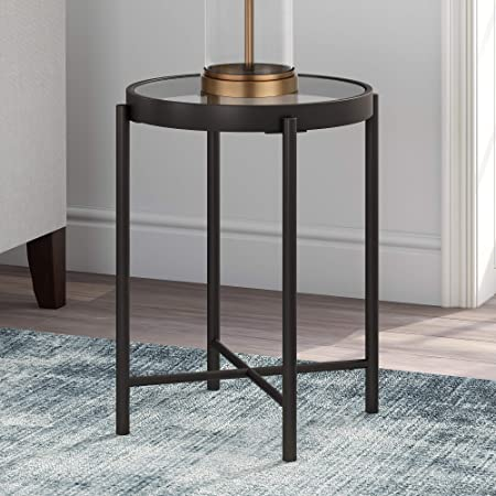 Black Henn/&Hart Round Metal Base with Glass Top Side Table