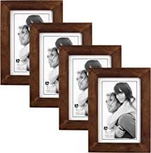 Malden International Designs Linear Stone Picture Frame, 4x6, Walnut, 4 Pack
