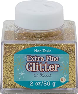 Sulyn Extra Fine 24 Karat Gold Glitter Stacker Jar, 2 Ounces, Non-Toxic, Stackable and Reusable Jar, Multiple Slot Openings for Easy Dispensing and Mess Reduction, SUL50862