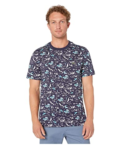 Lacoste Short Sleeve All Over Printed Jersey T-Shirt (Navy Blue/Multicolor) Men