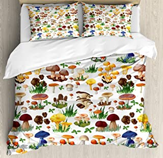Ambesonne Mushroom Duvet Cover Set King Size, Pattern with Types of Mushrooms Wild Species Organic Natural Food Garden Theme, Decorative 3 Piece Bedding Set with 2 Pillow Shams, White Brown