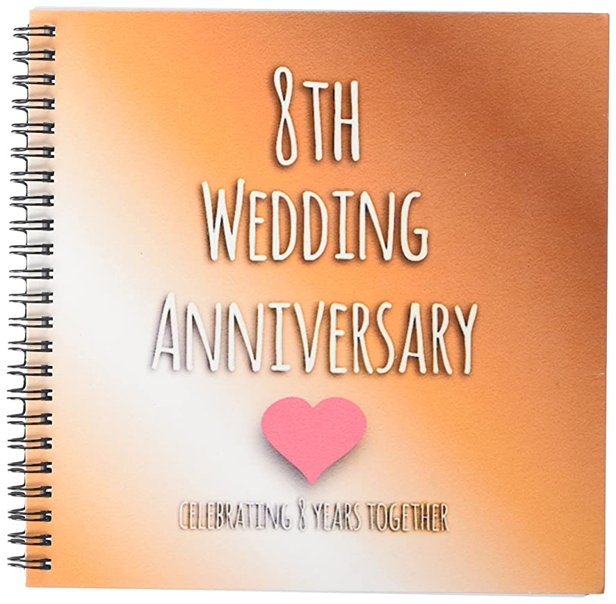 3dRose db_154439_1 8th Wedding Bronze Celebrating 8 Years Together Eighth Anniversaries Eight Years Drawing Book, 8 by 8-Inch