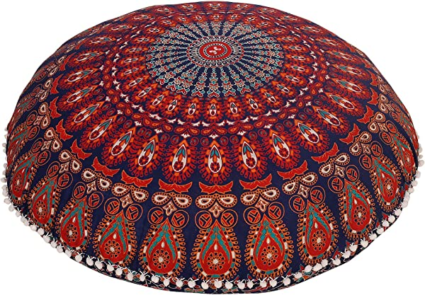 Radhy Krishna Fashions COR S Hippie Ombre Mandala Tapestry Round Floor Cushion Cover Roundie Wall Hanging Beach Towel Throw Yoga Mat Round Tapestry