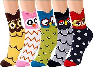 QH-shop, Calcetines de Mujer Coloreados Algodón Calcetines Patrón de Búho Adulto Unisex Calcetines Térmicos 5 Pairs