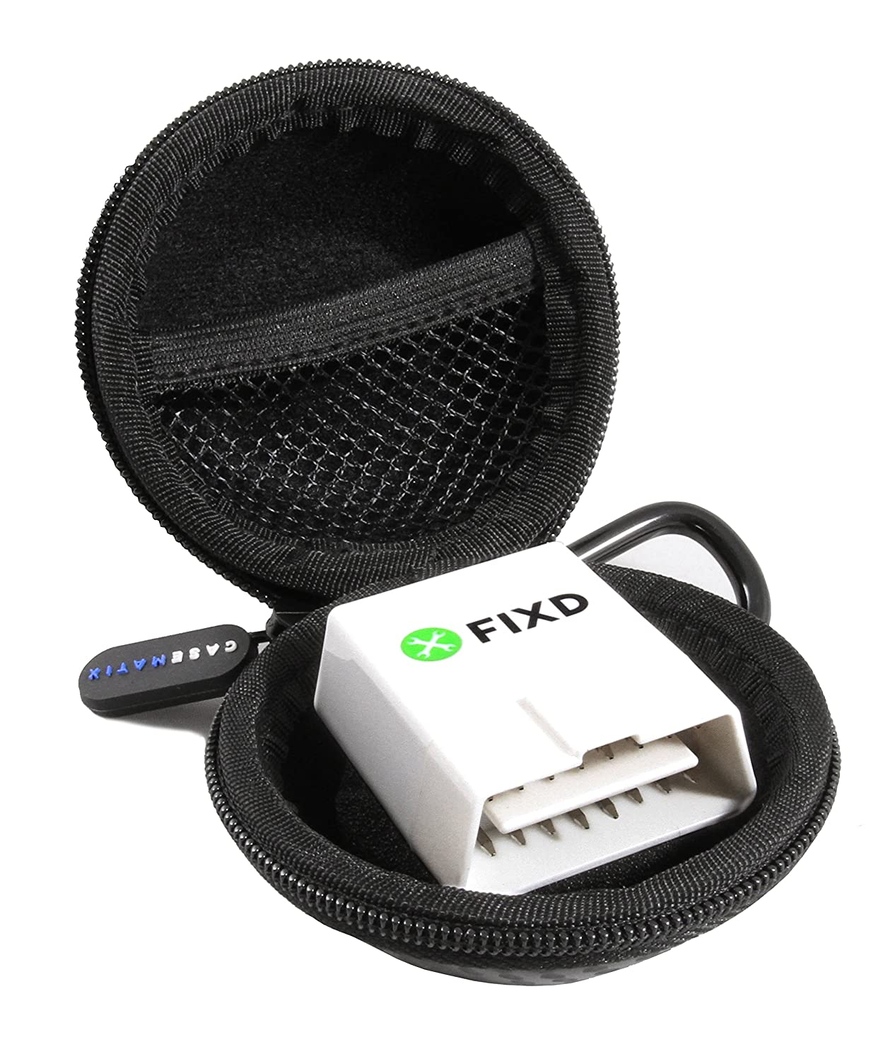 CASEMATIX OBD Carry Case Compatible with FIXD OBD2 Bluetooth Car Diagnostic Tool for iPhone and Android Auto Car Health Monitor Device - Carabiner Included