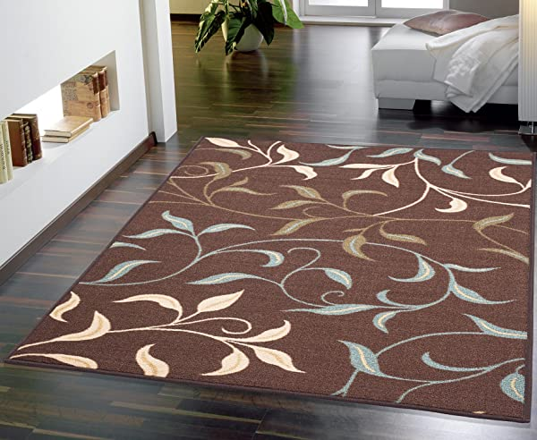 Ottomanson Contemporary Leaves Design Modern Area Rug 5 0 W X 6 6 L Choclate