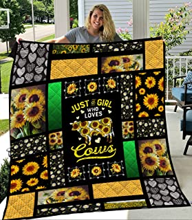 Cows Farming Sunflower Quilt, All-Season Quilts Comforters with Reversible Cotton KingQueenTwin Size - Best Decorative Quilts-Unique Quilted for Gifts (QB00051; Queen)