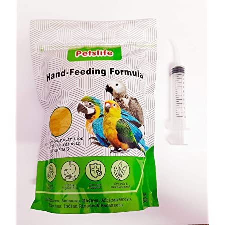 Pets Wizard - Petslife Hand Feeding Formula Baby Bird Food 500 g with 12 ML Curve tip Syringe ( Combo Offer ) (500 Grams with Syringe)