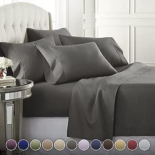 6 Piece Hotel Luxury Soft 1800 Series Premium Bed Sheets Set, Deep Pockets, Hypoallergenic, Wrinkle & Fade Resistant Bedding Set(Queen, Gray)