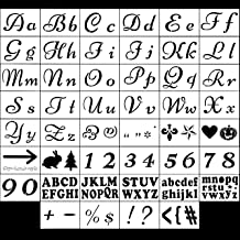 SOTOGO 149 Designs 25 Silk PET Letter Stencils for Painting, Alphabet with Calligraphy Font Upper and Lowercase Letters - Reusable Holiday Plastic Art Craft Stencils with Numbers and Signs - 46 Pcs