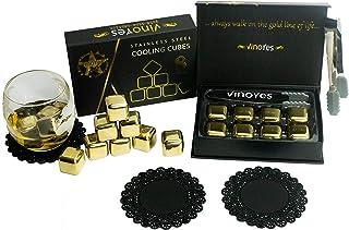 VinoYes Premium Whisky Steine in Gold oder Silber – 8 Wiederverwendbare Kühlsteine als Geschenk-Set in edler Verpackung | Mit Zange  Beutel - Edelstahl Eiswürfel für Gin, Cocktails.