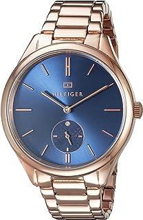 ساعة بسوار من الستانلس ستيل بلون ذهبي وردي ومينا ازرق للنساء من تومي هيلفيجر 1781579