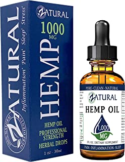 1,000mg Zatural Hemp Oil Drops: Hemp Seed Oil for Pain Relief, Anxiety, Stress, Relaxation, Better Sleep and Mood – Natural, Anti Inflammatory and Immune Support. Rich in Omega 3 & 6 (1,000mg Natural)