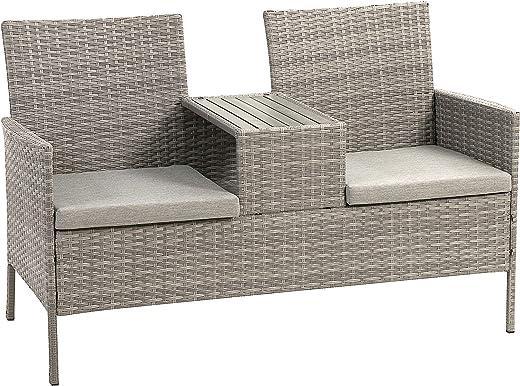 Ribelli Polyrattan Gartensitzbank mit Tisch, 2-Sitzer, für Garten und Terrasse, Gartenbank inkl. Sitzkissen, grau Gartenmöbel Loungemöbel Rattan...