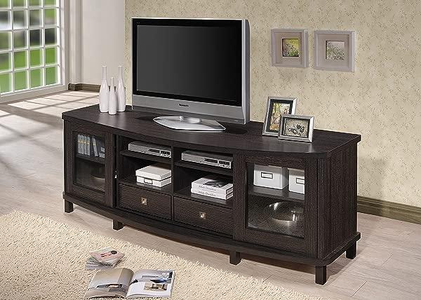 Baxton Studio Wholesale Interiors Walda Wood TV Cabinet With 2 Sliding Doors And 2 Drawers 70 Dark Brown