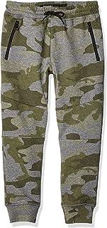 Big Fleece Jogger Pants Active Zipper Pocket Sweatpants, Olive Camo, 7 Kids Boys Medium