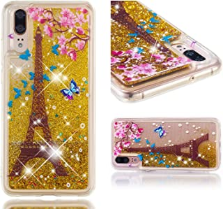Glitter Case for Huawei P20,QFFUN Bling Floating Liquid Quicksand Soft Clear Slim Fit Silicone Case with Screen Protector Shockproof Transparent Protective Cover Bumper - Butterfly Tower