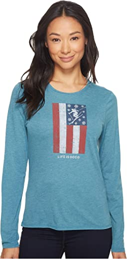 Life is Good - Skis And Stripes Long Sleeve Sweet Tee