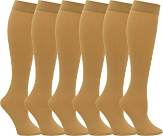 6 Pairs Women's Trouser Socks, Silky Opaque Stretchy Nylon Knee Highs With Spandex