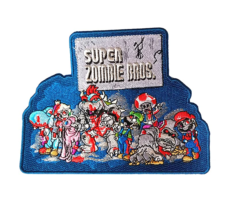 'Super Zombie Brothers' Classic Video Game Parody - Iron on Embroidered Patch Applique