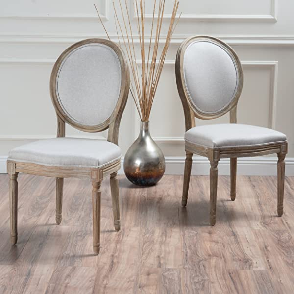 Christopher Knight Home 300258 Phinnaeus Beige Fabric Dining Chair Set Of 2