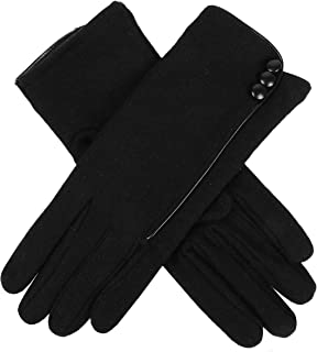 Dents Women's Pure Wool Gloves With Contrast Piping & Button Button Detail