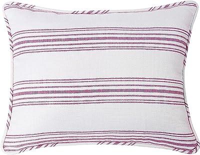HiEnd Accents Prescott Stripe Pillow Sham, Queen Red, Pair