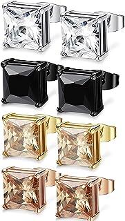 FIBO STEEL 4 Pairs Stainless Steel Square Stud Earrings for Men Women Ear Piercing Earrings Cubic Zirconia Inlaid,3-8mm Av...