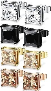 4 Pairs Stainless Steel Stud Earrings for Men Women Ear Piercing Earrings Cubic Zirconia Inlaid,3-8 mm