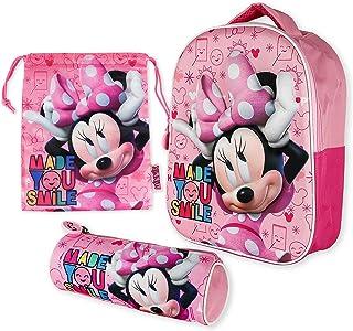 Mochila Infantil 3D, Estuche Escolar y Bolsa Merienda de Cuerdas Pack Diseño Colorido – Minnie Mouse | Mochila Escolar Niñ...