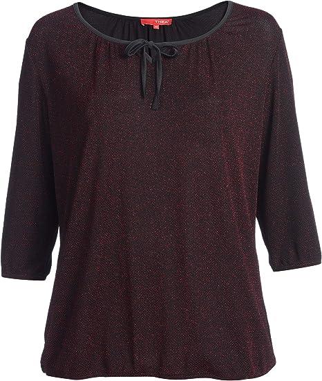 Thea By Adler Mode Damen Festliches Shirt Mit Kleinem Zackenmuster In Glitzerfaden Schwarz Mit Rot Silber 52 Amazon De Bekleidung