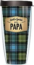 World's Greatest Papa Blue Flannel Design 22 Ounce Traveler Tumbler Mug with Lid