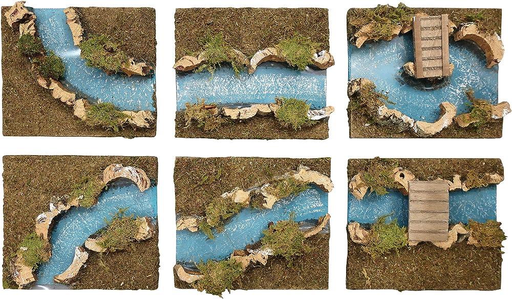 Ferrari & arrighetti,fiume diviso in 6 parti,paesaggio del presepe 529/6