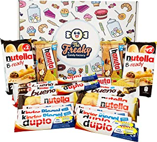 Ferrero Assorted Chocolates Gift Box (21-Pack) Classic German Candy | Bueno, Duplo, nutella b-ready, Kinder Riegel, and Hanuta | Personal Packs or Halloween Shareables