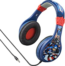 Avengers Assemble Kids Headphones, Adjustable Headband, Stereo Sound, 3.5mm Jack, Wired Headphones for Kids, Tangle-Free, Volume Control, Foldable, Childrens Headphones Over Ear for School Home Travel