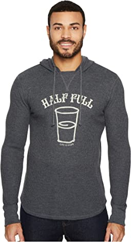 Life is Good - Half Full Arc Hooded Waffle Pullover