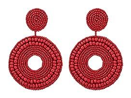 Seedbead Circle Drop Direct Pierced Earrings