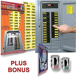 circuit breaker id tags plus bonus chrome socket labels for tool  organizing, great for home