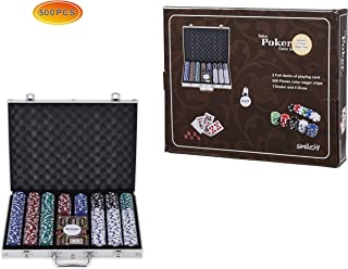 Smilejoy Casino Poker Chips Set,11.5 Gram for Texas Holdem Blackjack Gambling with Aluminum Case (500new)