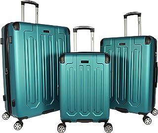 Dejuno Tutin 3-Piece Hardside Spinner Luggage Set with TSA Lock, Turquoise