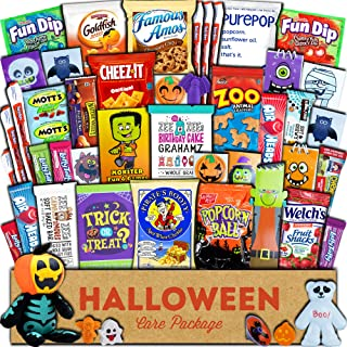 Halloween Care Package (45ct) Trick or Treat Snacks Cookies Bars Chips Candy Toys Variety Gift Box Pack Assortment Basket Bundle Mixed Bulk Sampler Treats College Students Office